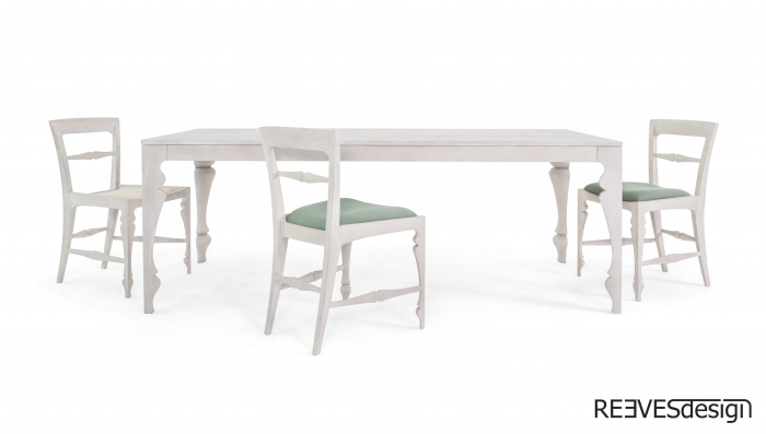 Louis Dining Table White Side Chair White Rattan White Green White Green