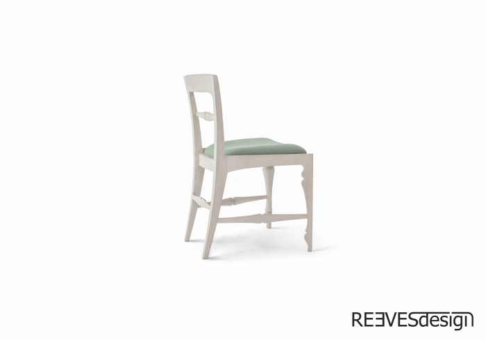 Louis Side Chair White Green Cushion Side Rear