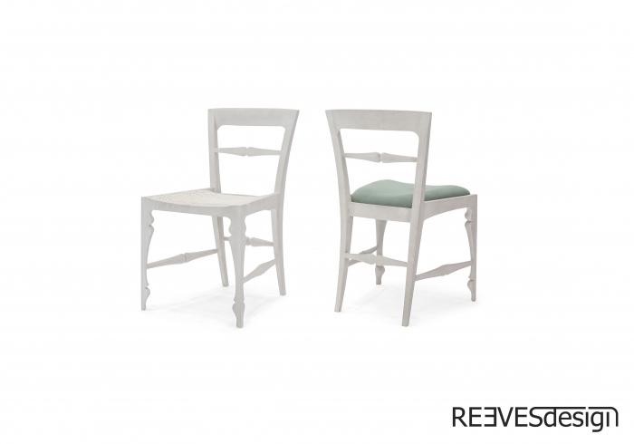 Louis Side Chair White Rattan White Green